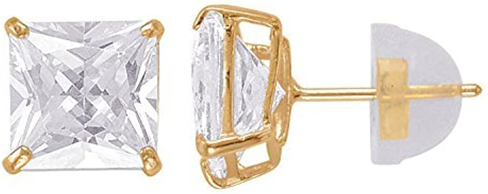 14kt Solid White Gold Super Bright Clear Cz Basket Square Butterfly Pushback Stud Earrings