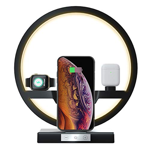 Wireless Charger Station with Desk Light Bedside Lamp, EBXYA 3 in 1 Charging Stand Station Dock with LED Eye-Caring Light of 3 Level Brightness, for Apple Watch, Airpods, iPhone, Samsung (Black)