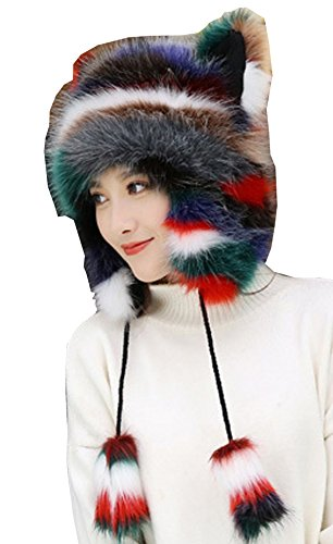 Earflap Bomber Hat Winter Fur Hat Slouchy Beanie Stocking Cap for Women (Colorful)