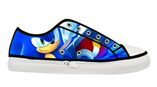Custom Imported Women's Sonic The Hedgehog Canvas Shoes Low-Top Lace-up Zipper Rubber Nonslip Black Casual (Sonic The Hedgehog Sneakers)