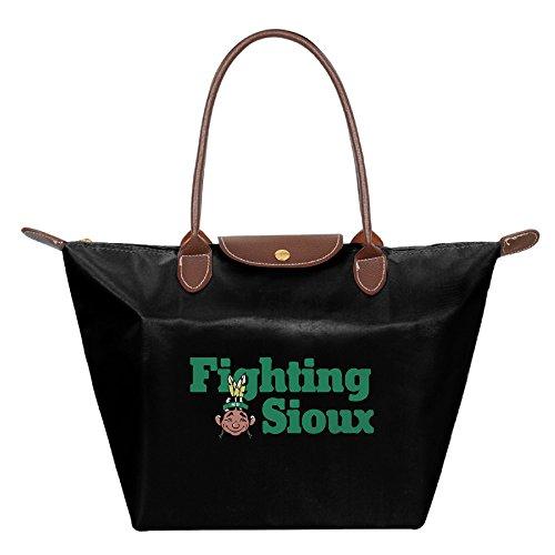 Fighting Sioux.png Waterproof Foldable Tote Bags Shopping Beach Shoulder Handbags Purse Tote Shoulder Bag Black