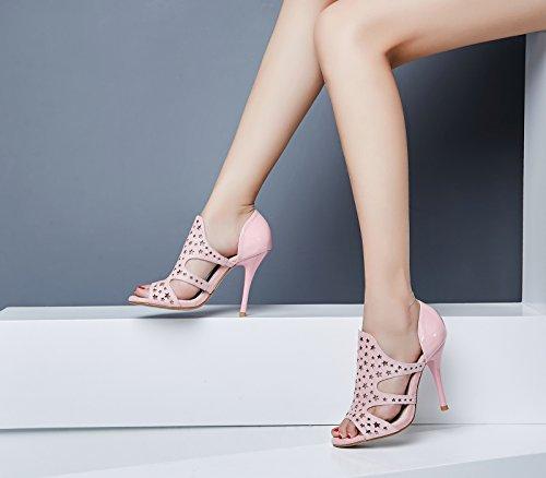 Lizform Donne Open Toe Sera Tacchi Alti Scarpe Ritaglio Vestito Pentagramma Slip On Pump Scarpe Con Tacco Rosa
