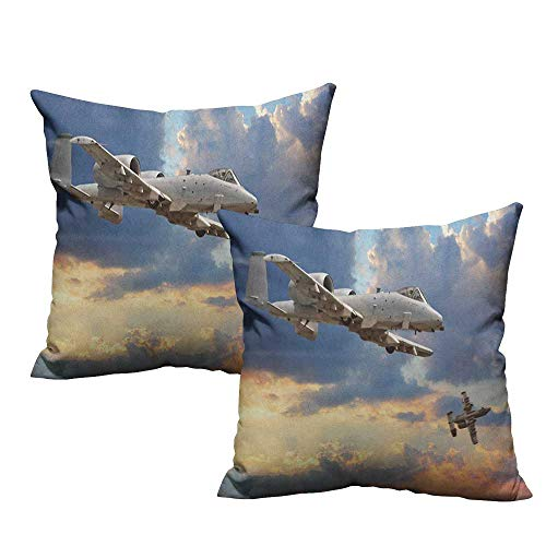 RuppertTextile Polyester Pillowcase Airplane Peacekeepers Mission Jet Up International Military Force Combat Flight Picture Machine Washable W20 xL20 2 pcs