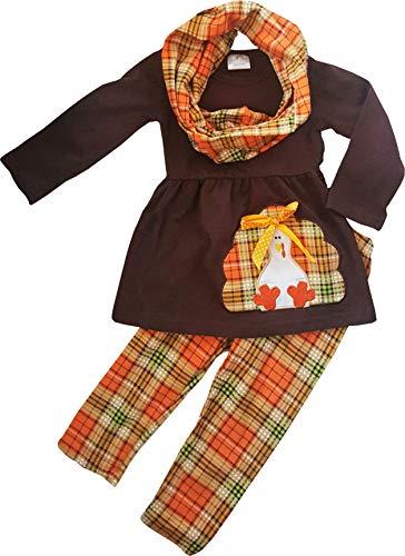 Toddler Little Girls Fall Thanksgiving Turkey Embroidery Tunic Legging Scarf Set 2T/XS