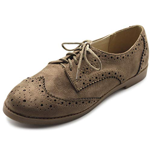 Ollio Women's Flat Shoe Wingtip Lace Up Faux Nubuck Oxford M2920 (8.5 B(M) US, Taupe)
