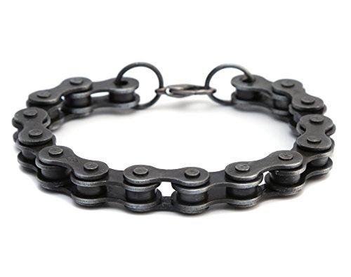 HZMAN Cool 6mm / 10mm Black Gun Plated Alloy Motorcycle Biker Chain Bracelet Link Wristband Necklace,9 Inch (Wide 0.6 (Bike Chain Bracelet)