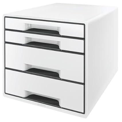 Leitz Cube - Cajonera (4 cajones), color blanco