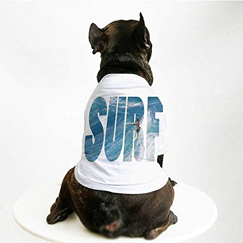 YOLIYANA Surf Stylish Pet Suit,Surfer Riding Giant Majestic Ocean Wave in Hawaii Adrenalin Epic Athlete Sea Pacific for Small Medium Big Dogs,L