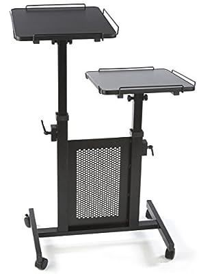 Displays2go Laptop and Projector Cart, Height Adjustable Tilting Non-Slip Shelves, 4 Wheels, Steel/MDF Wood (MPFDCPLCTB)