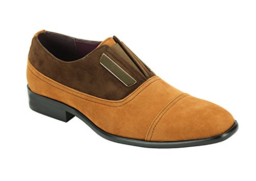 Harlem Riddere 6593 Mens To Tone Faux Suede Shoes Scotch Brun