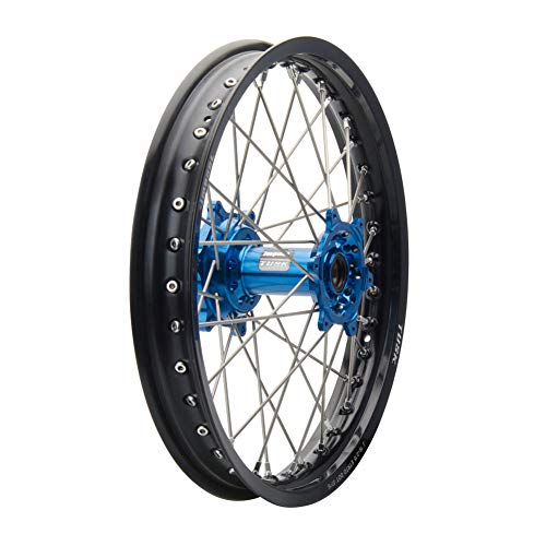 Tusk Impact Complete Wheel - Rear 18 x 2.15 Black Rim/Silver Spoke/Blue Hub - Fits: SUZUKI RMZ250 2004-2006