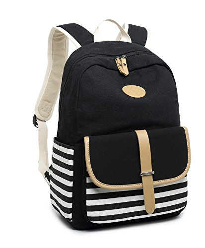 School Backpack for Girls, Gazigo Womens High School College Bookbags Laptop Bag (Black) by Gazigo (Image #8)