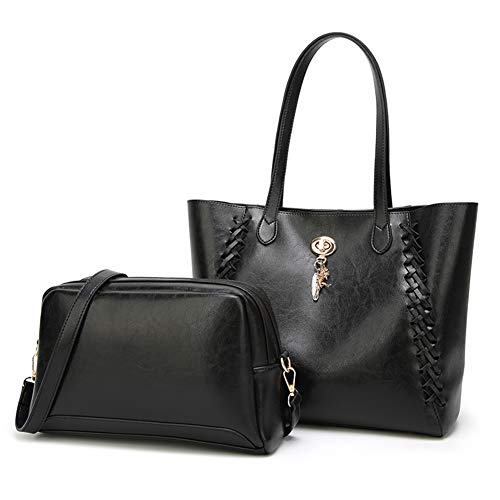 Bag Bags Tote Shoulder Top New Style handle Black Fashion Lady 2pcs WENIG Handbag Purse 80Sxxz
