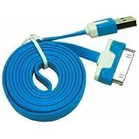 Cabo de Dados USB para iPhone 4 iPad iPod FLAT 2 Metros AZUL Compativel