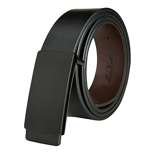 Mens Dress Leather Belt Plaque Buckle 35mm Width