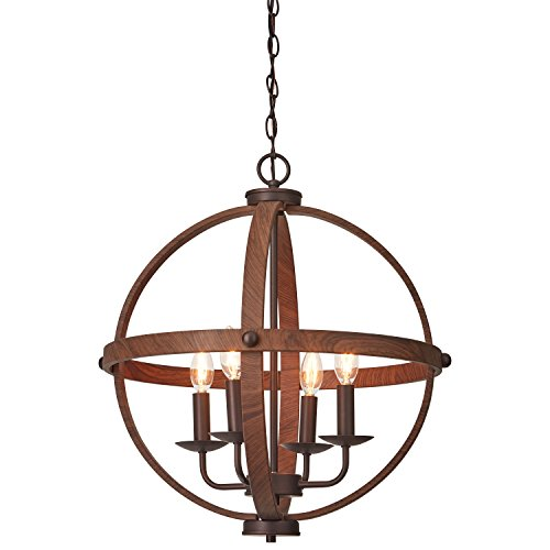 Cheap Stone & Beam Rustic Spherical Chandelier, 22.5″H, With Bulb, Oil Rubbed Bronze/Wood Finish