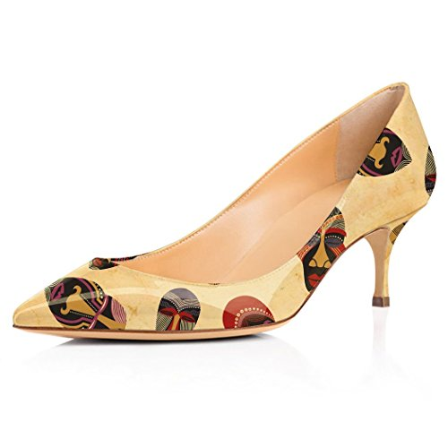 YCG Women's Low high Heels Pumps Africa Avatar Tatoo Printing Pleather Comfort Slip on Shoes US 9 by YCG