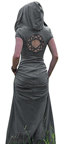 SYTX Womens Vintage Medieval Short Sleeve Hooded Party Maxi Dress Gray L