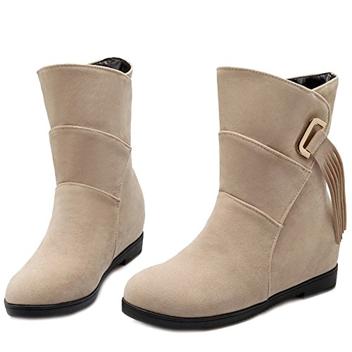 SJJH and with Boots Grey Shoes Women Materail Boots Flat Casual Comfortable Fashion Ankle and Nubuck Tassels Women for rxp4RqXrwC