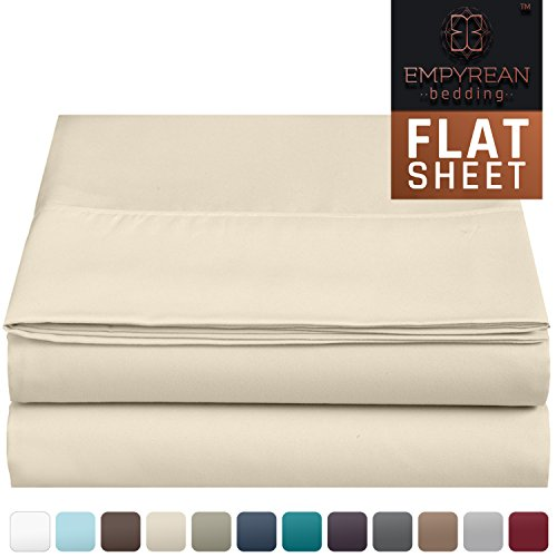Premium Flat Sheet - Luxurious & Soft King Size Linen Flat Cream (Beige Ivory) Sheets - Hotel Quality Brushed Microfiber (Single) Flat Bed Sheet Hypoallergenic Bedroom Essentials By Empyrean Bedding