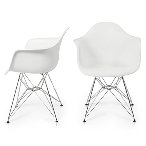 Belleze Mid Century Mid Century Armchair Retro Molded Shell Living Room Office Indoor/Outdoor, Set of 2 -White For Sale