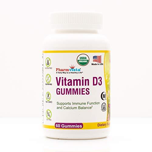USDA Organic Vitamin D3 Gummy Bears - Tasty, Gelatin-Free, Vegetarian Way to take Your Sunshine Vitamin (60 Count)