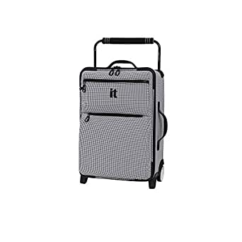 "it luggage 21.8"" World's Lightest Los Angeles 2 Wheel Carry on, Black/White (Black) - 22-1413B02GLO49-M017"