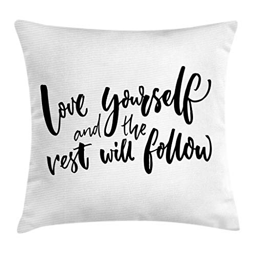 """Ambesonne Saying Throw Pillow Cushion Cover, Love Yourself and The Rest Will Follow Motivational Phrase Wisdom Words, Decorative Square Accent Pillow Case, 18"""" X 18"""", Charcoal White"""