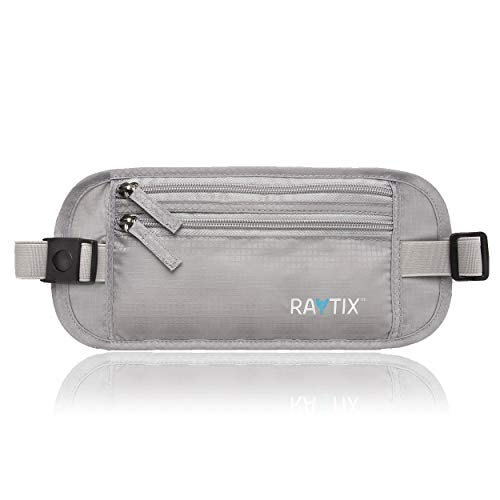 Raytix Travel Money Belt With RFID Transmissions -Secure, Hidden Travel Wallet (Gray)