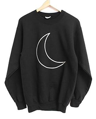 Silver Metallic Crescent Moon Black Crewneck Sweatshirt