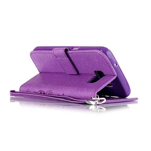 JIALUN-Personality teléfono shell Caso de Samsung S7, caja de estilo de la cartera de patrón de colores pintado diseño magnético flip folio cubierta de la cubierta de cuero de la PU para Samsung S7 Se Purple