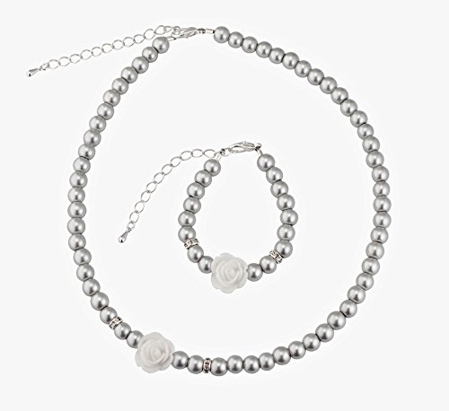 Crystal Dream Flower Girl Gray Simulated Pearls Flower Necklace with Bracelet Toddler Gift Set (GSTNB2-G_L)