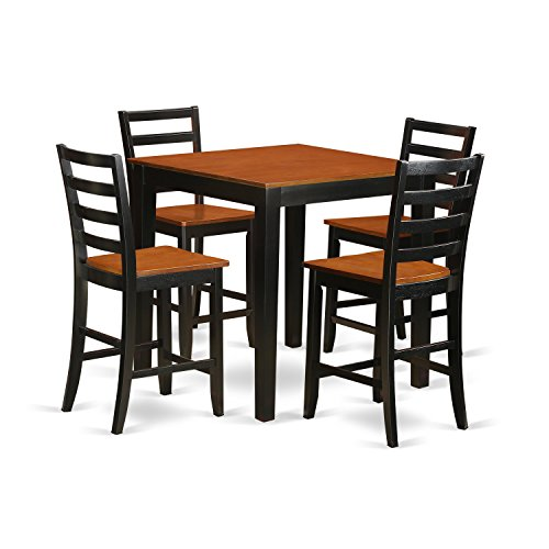 East West Furniture PBFA5-BLK-W Kitchen Set, 5 Pieces