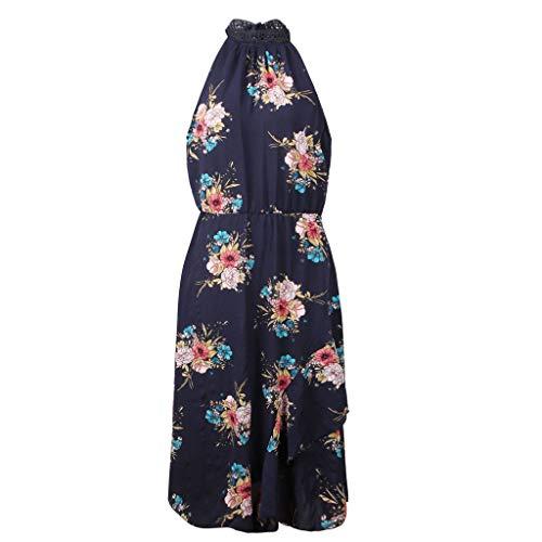 HYIRI Women's Beach Dress Summer Print Bohemian Sleeveless Dress Dark ()