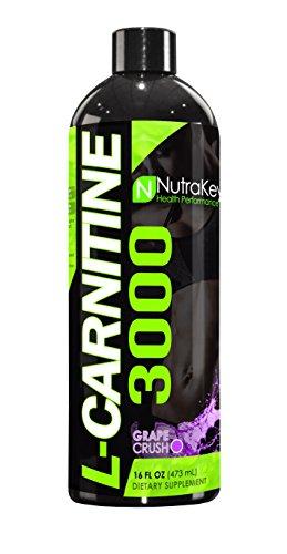 NutraKey L-Carnitine 3000 Liquid Fat Burner, (Grape Crush) 31 Servings