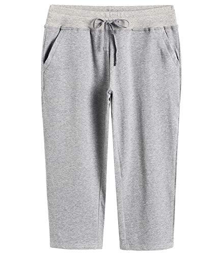 (Weintee Women's Cotton Capri Pants with Pockets L Oxford Gray )