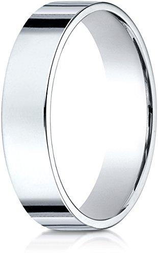 Benchmark 14K White Gold 5mm Traditional Flat Wedding Band Ring, Size 9.75 ()