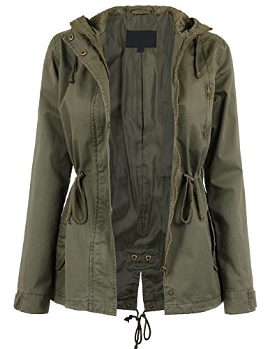 KOOLDO Womens Fully Lined Anorak Jacket with Hooded and Waist Drawstring-L-OLIVE