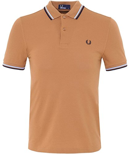 Fred Perry Slim Fit Twin Tipped Polo Shirt M Beige (Shirt Polo Embroidered Perry Fred)