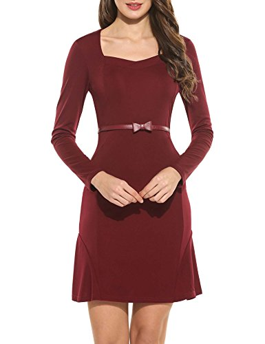 SE MIU Women Official Square Neck Fitted Business Pencil Dress, Wine Red, - Miu Miu Official