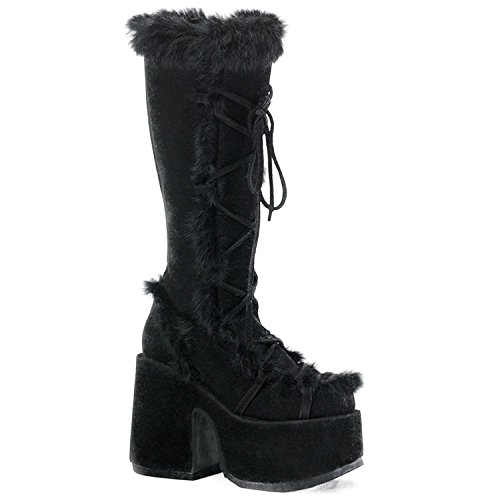 Demonia Door Pleaser Vrouwen Camel-311 Boot Black Veggie Suede