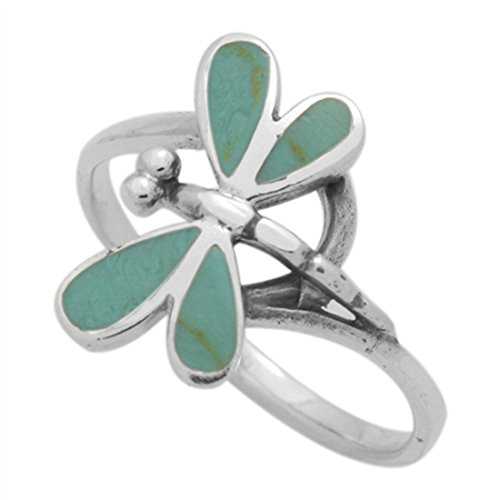 (Blue Apple Co. Dragonfly Ring 925 Sterling Silver Simulated Green Turquoise, Size - 7)