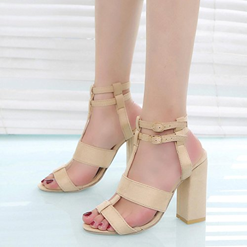 Bovake Womens High Thick Heel Block Peep Toe Ladies Ankle Buckle Party Strappy Sandals Single Shoe 3.5-6.5 Beige MYRkl93