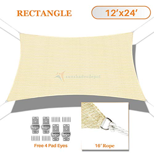 TANG Sunshades Depot 12 x24 180GSM Sun Shade Sail Rectangle Permeable Canopy Tan Beige Customize Commercial Patio Garden Preschool Kindergarten Playground Outdoor Facility Activities