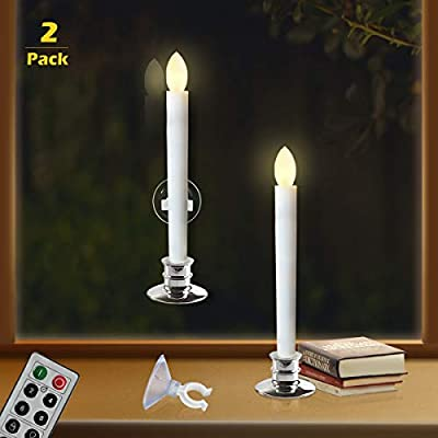 Remote Candles for Window - Timers Battery Operated Flickering Flameless Led Electric Candle Lights with 2pcs Silver Base and 2pcs Suction Cups Taper Candle Holder for Christmas Decorations