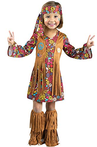Fun World Costumes Baby Girl's Peace and Love Hippie Toddler Costume, Brown, -