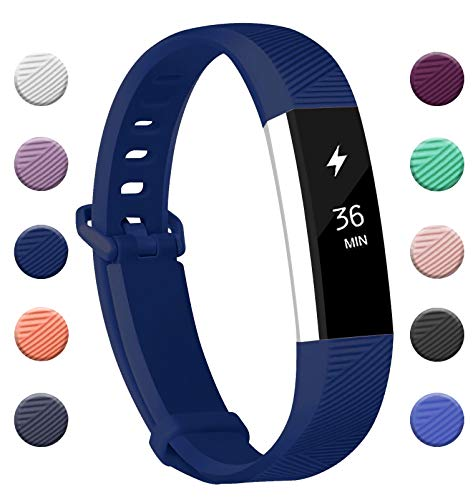 Fundro Compatible for Fitbit Alta Bands, Soft Silicone Replacement Classic Bands Available in Varied Colors with Secure Buckle for Fitbit Alta HR (C# 1-Pack Navy Blue, Small)