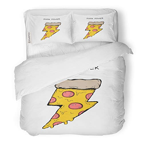 Badge Sweatshirt - Emvency Bedding Duvet Cover Set Piece of Pizza Salami in The Shape Lightning Retro for Summer Enamel Pin Badges Sweatshirts Hoodies Wall Boy 3 Piece King 104
