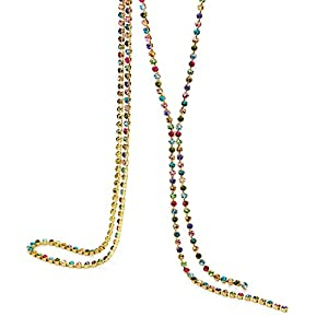 NEOGLORY 14k Gold Plated Multicolor Rhinestone Long Chain Y Necklace Fashion Jewelry 28″