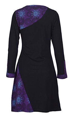 Viola SideFlower Neck Delle V con donne stampato Vestito manica lunga ricamo wxSaq